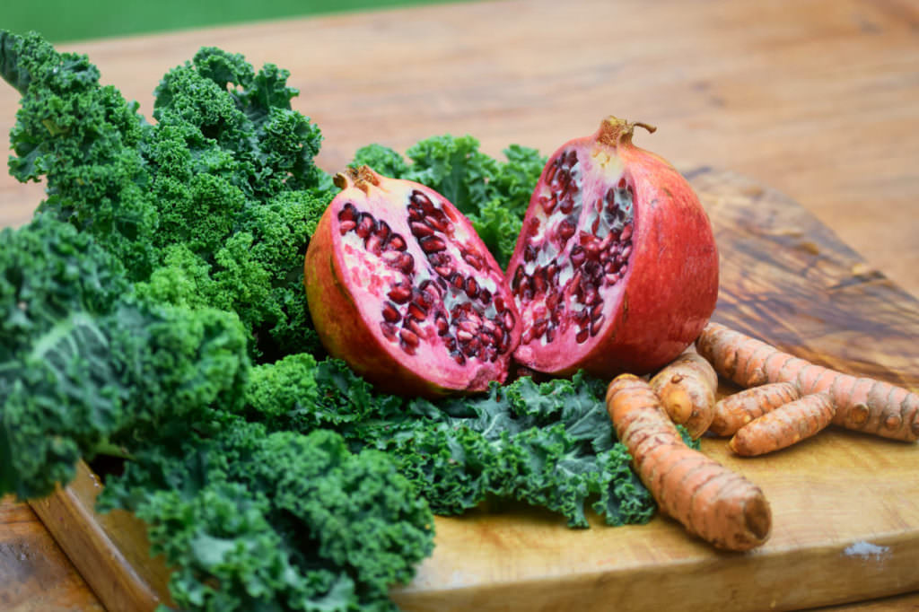 Zutaten Grünkohl Granatapfel Koriander