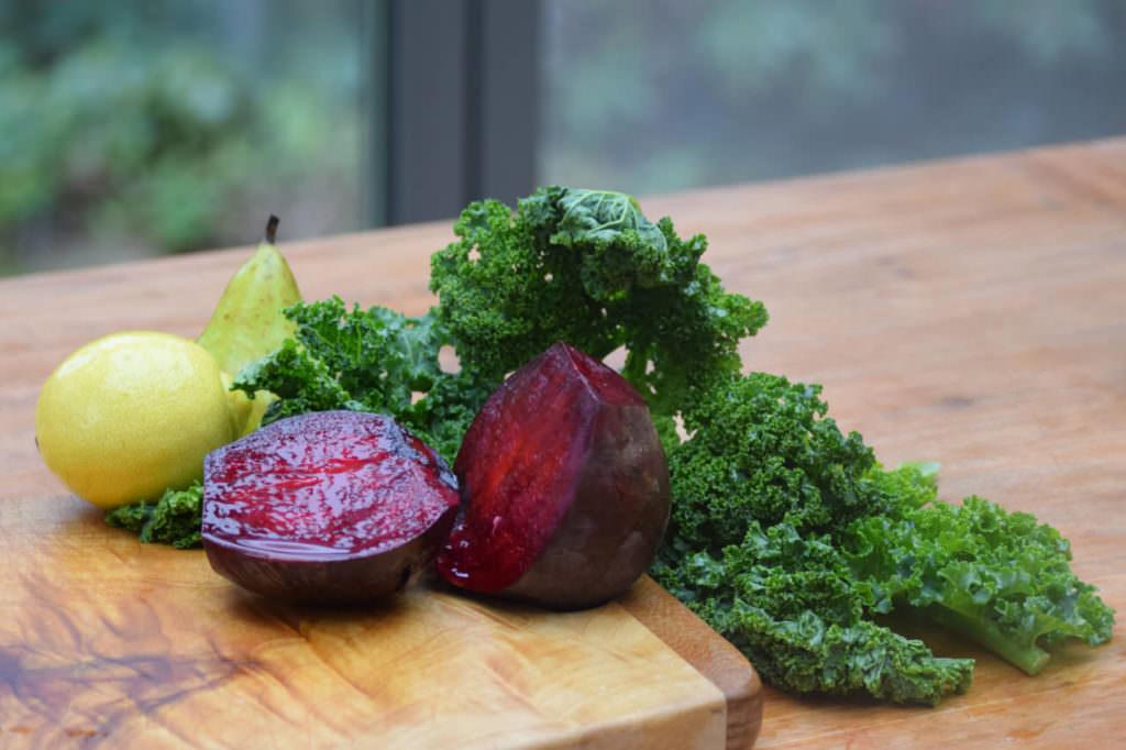 Zutaten rote Beete Grünkohl Birne